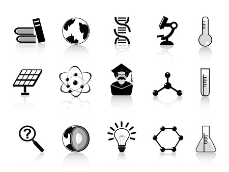 electrons: black science icons set for design Illustration