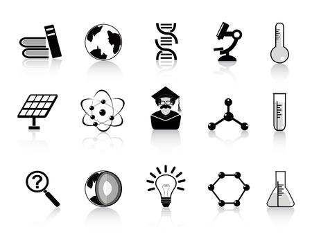 solar equipment: los iconos de la ciencia conjunto negro para el dise�o
