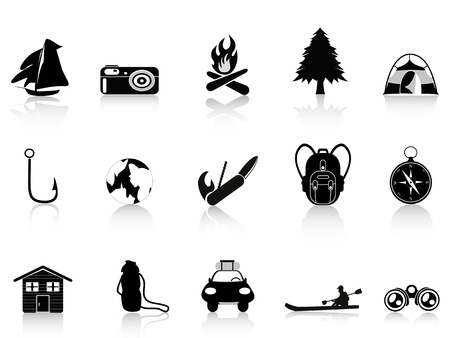 black outdoors and camping icon Vector