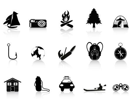 negro al aire libre y el icono de camping Ilustración de vector