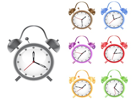 morning blue hour: some different colorful retro alarm clock