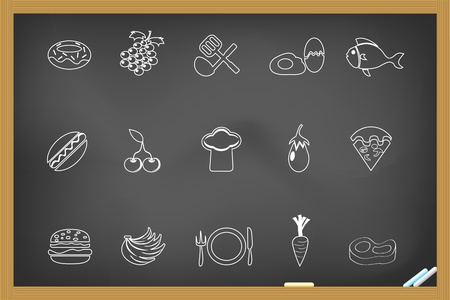 Food icon on blackboard  Stock Vector - 11272930