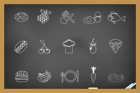 Food icon on blackboard Stock Vector - 11272930