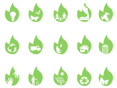 eco icons on green leaf for design Vector