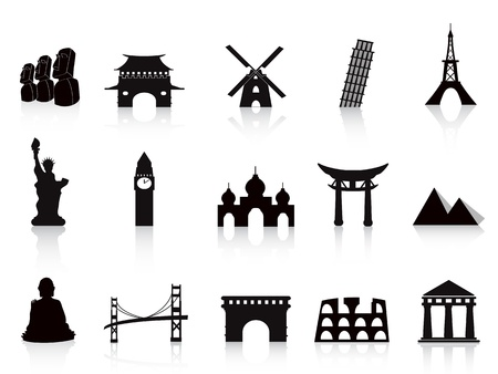 western asia: black landmark icons for travel design