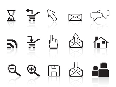 pixel computer icons for web design Vector
