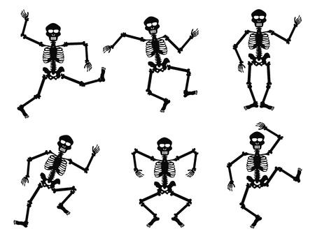 squelette: Squelettes isol�s dansant sur fond blanc Illustration