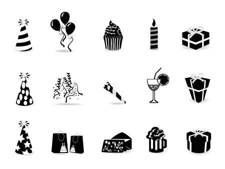 isolated black birthday icon set on white background