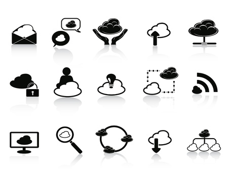 cloud computer: isolated black cloud network icon set on white background