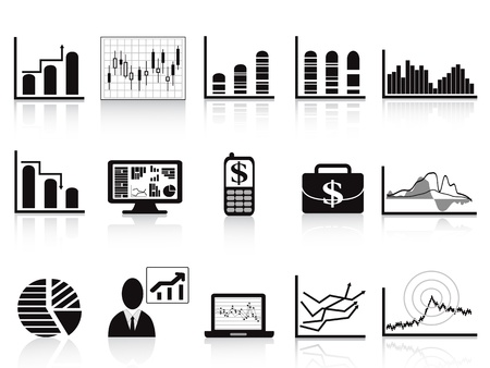 market trends: some business charts icon set for business reports