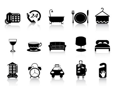 cama: aislado hotel de iconos conjunto negro sobre fondo blanco