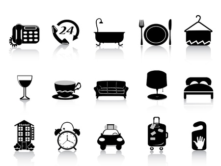 bath room: isolated black hotel icons set on white background