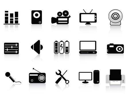 laptop repair: conjunto de iconos de audio, v�deo y foto en color negro