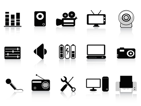 web cam: set of audio, video and photo icons in black color