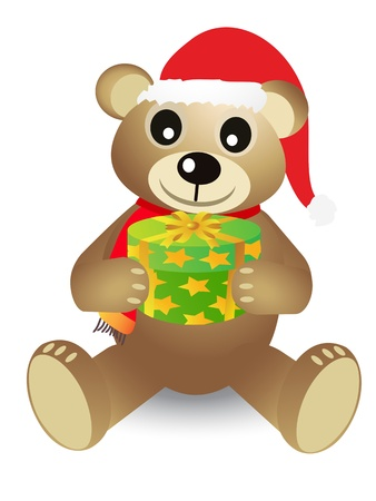 christmas bear holding a gift box on white background Vector