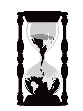 흰색 배경에 고립 된 지구 시간 시계 일러스트