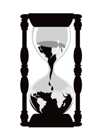 hour glass: isolated earth hour watch on white background Illustration