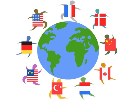 nations:  international people with flag around the world
