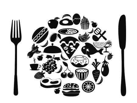 viande couteau: le symbole alimentaire form�e avec des ic�nes alimentaires