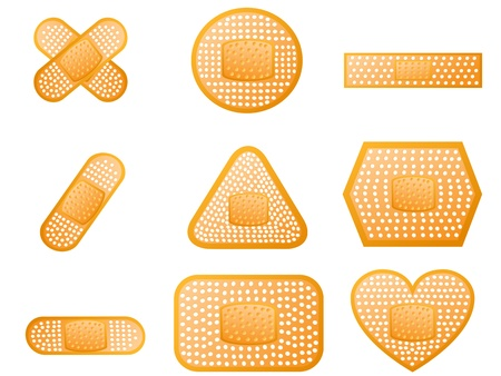 wound: some different of shape of medical first aid plaster   Illustration