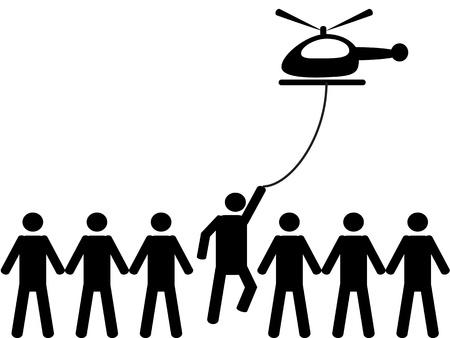 Een persoon wordt opgepikt door een helikopter