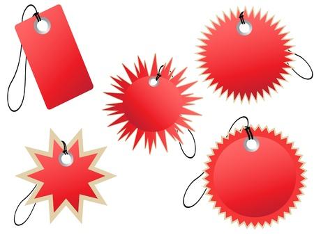 starbursts: conjunto de etiquetas rojas para el dise�o Vectores