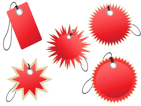 set of red tags for design Vector