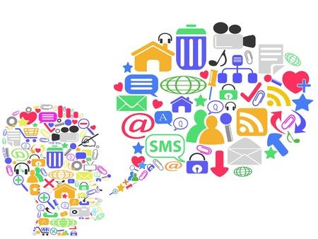 interaccion social: cabeza humana con los medios de comunicaci�n social, ilustraci�n vectorial