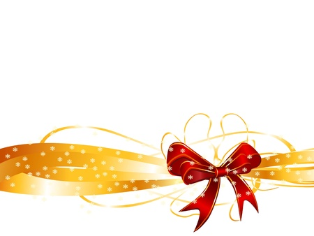 background of red bow on a golden ribbon  Vector