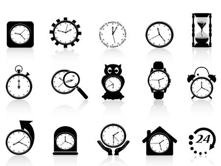 zwarte klok icon set
