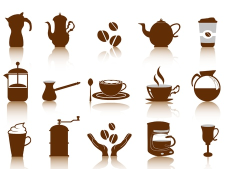 cafe latte: coffee icon set