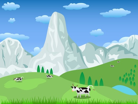 mountain landscape and pasture Ilustrace