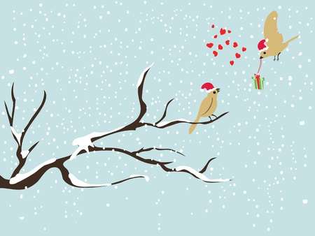 falling in love: two cute christmas bird on snow falling background