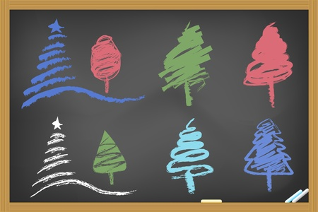 drawing christmas tree on blackboard Vector