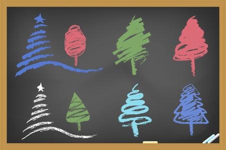 drawing christmas tree on blackboard Vector