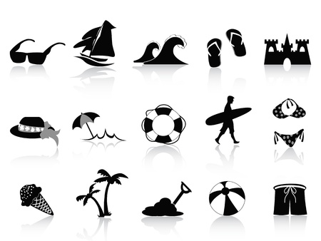 surfboards: Set of 15 black beach icons Illustration