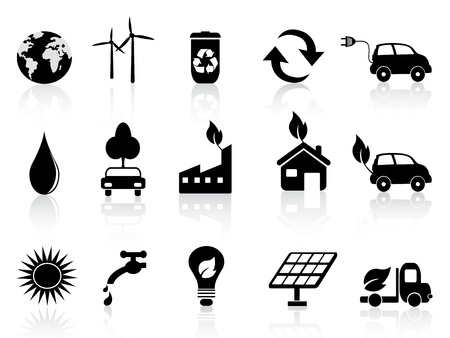 car plug: Eco and environment icons in black Illustration