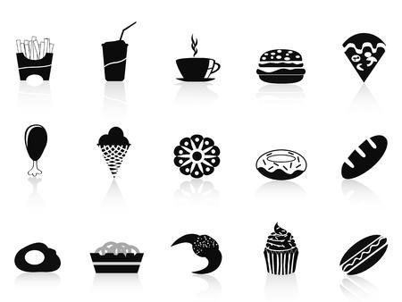Fast food icons set in de kleur zwart
