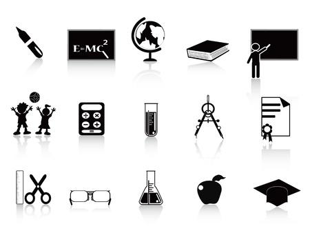 ball pens stationery: Educación conjunto de iconos en color negro Vectores