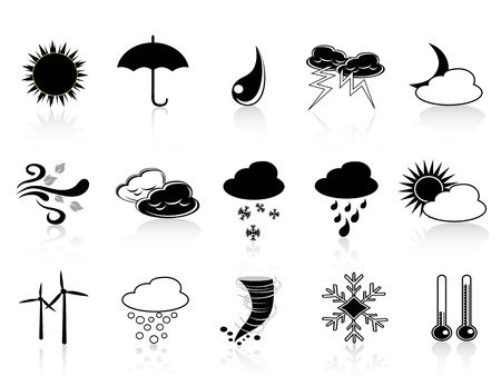 rainy days: Vector set of weather icon in black color Illustration
