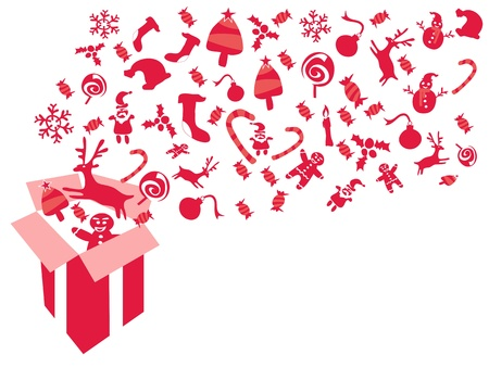 red christmas patterns coming out from red Xmas gift box Vector