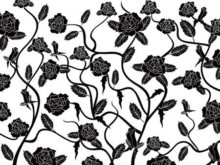 검은 색 원활한 패턴 배경 장미