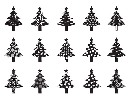 some black xmas tree icons for design Stock Vector - 11386318
