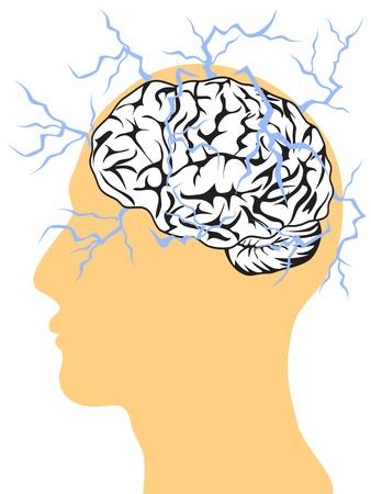 thunder and lightning: thunder inspiring brain in the head Illustration