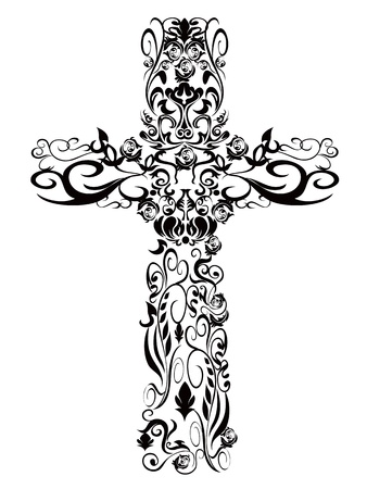 artistic jesus: decoration pattern Cross for design