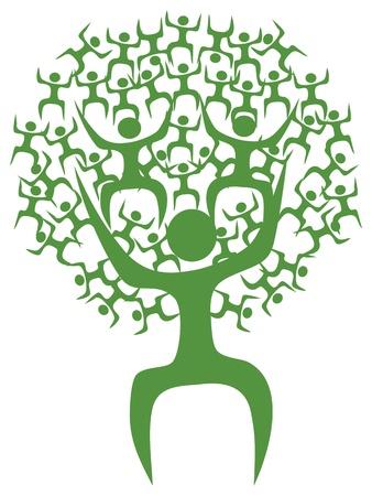 arbol geneal�gico: aislados del hombre �rbol verde eco en el fondo blanco Vectores
