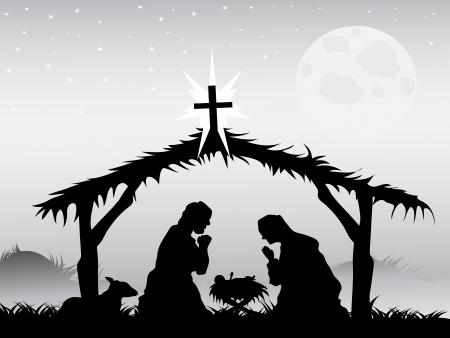 nacimiento de jesus: el fondo de la escena de la natividad en forma vectorial Vectores