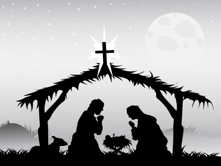mary and jesus: the background of nativity scene in vector form