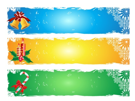 grungy header: 3 different color of merry christmas banner