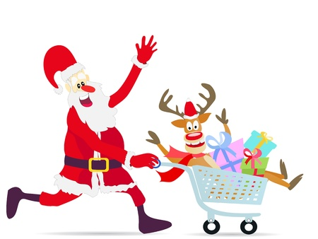 red nosed reindeer: happy Santa Claus running shopping cart with deer and gifts on white background Illustration